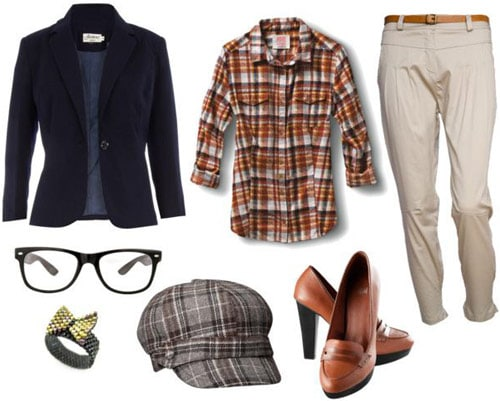 Andre 3000 Outfit - Black blazer, khaki trousers, oxford heels, glasses, plaid shirt