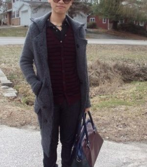 Andy, a fashionable college student showing off his street style at Indiana University