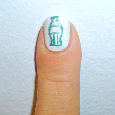 Andy Warhol-inspired Manicure: Coca Cola Bottle nail step 3