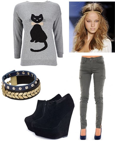 How to wear an animal graphic sweater for fall - wedges, cargo skinnies, messy hair