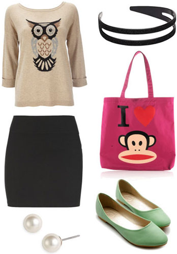 How to wear animal graphic sweaters for fall - pencil skirt, flats, cute tote bag