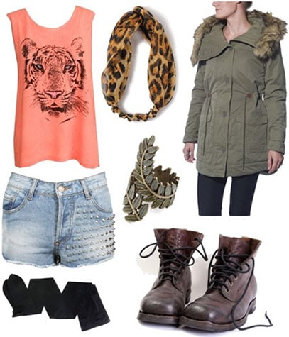 How to wear animal graphic tops for fall - denim cutoffs, tights, military jacket, lace-up boots