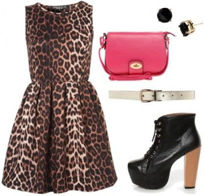 Animal Kingdom outfit 1: Leopard dress, litas, belt, pink bag, stud earrings