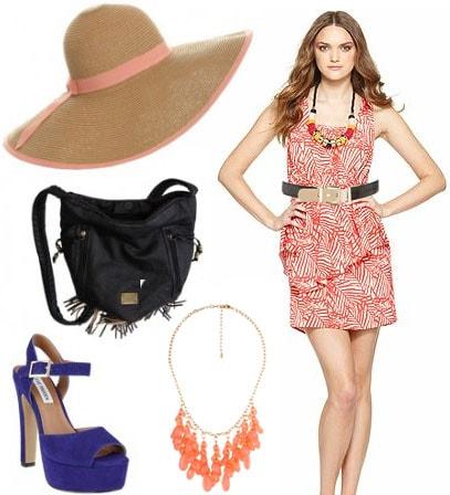 Animal Kingdom outfit 2: Leaf print dress, platform shoes, sun hat, coral necklace, fringe bag