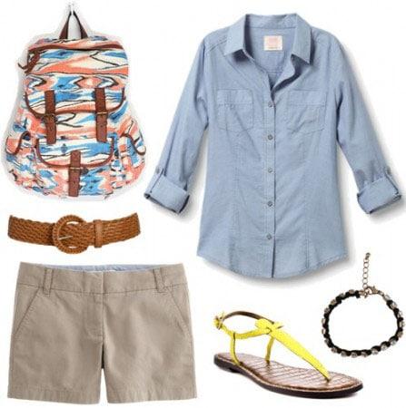 Animal Kingdom outfit 3: Khaki shorts, button-down shirt, belt, ikat print backpack, bracelet