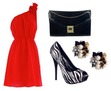Animal print outfit: Patterned shoes and solid colored dress