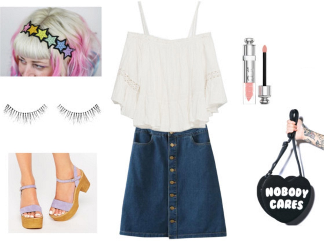 Outfit inspired by Anaru from Anohana - denim skirt, off the shoulder blouse, sandals, eyelashes, nobody cares purse
