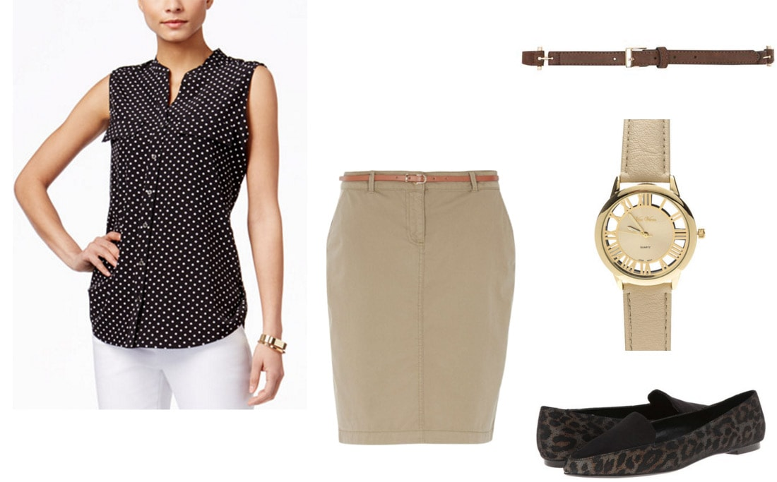 Outfit inspired by Yukiatsu from AnoHana - Polka dot top, tan skirt, flats, tan watch, belt