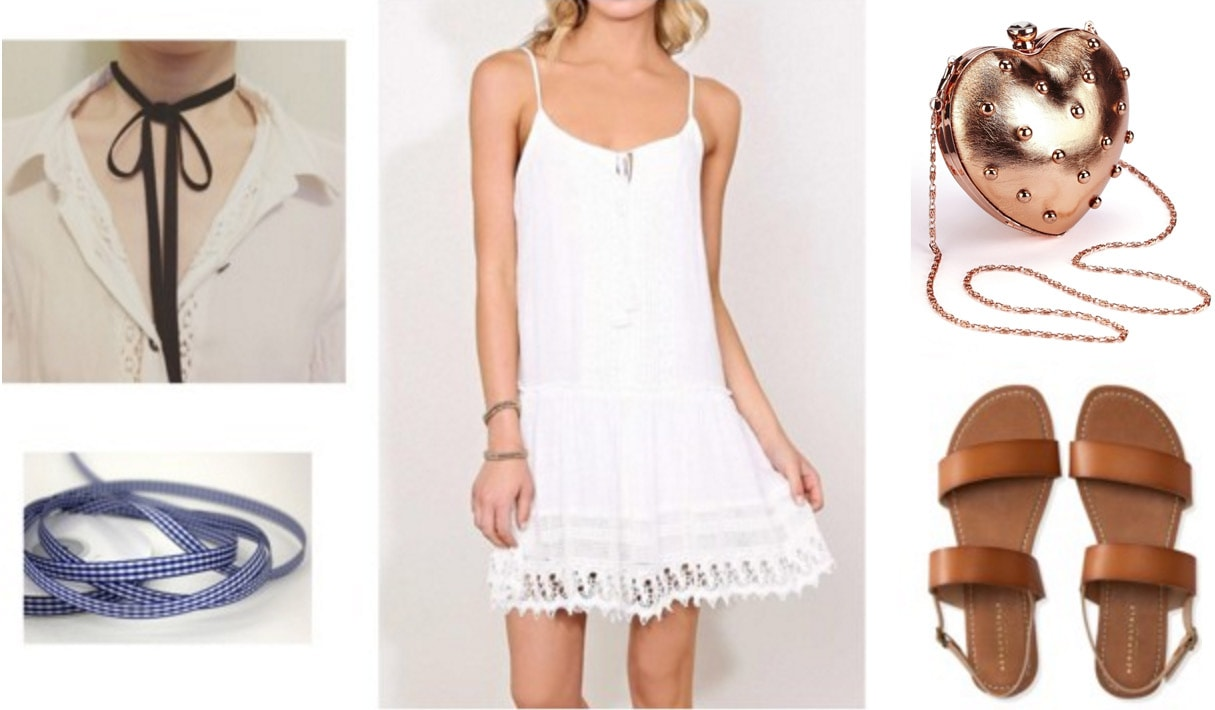 Anime-inspired outfit: AnoHana Menma - white dress, heart clutch, choker, sandals