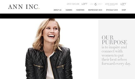 Ann inc website screenshot