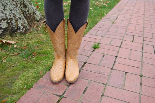 College student style: Cowboy boots and contrasting tights on campus at Hendrix College