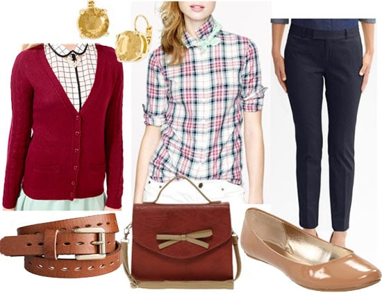 Fashion inspired by Ann Perkins from Parks and Recreation: Plaid shirt, burgundy cardigan, camel belt, trousers, ballet flats, satchel
