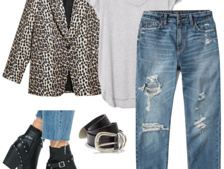 Anna Kendrick Outfit: leopard print blazer, light gray t-shirt, ripped straight leg jeans, black and silver belt, black studded ankle booties