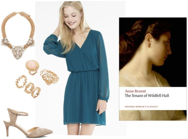 Outfit inspired by Anne Bronte: Flowy green dress, pointy toe heels, statement necklace