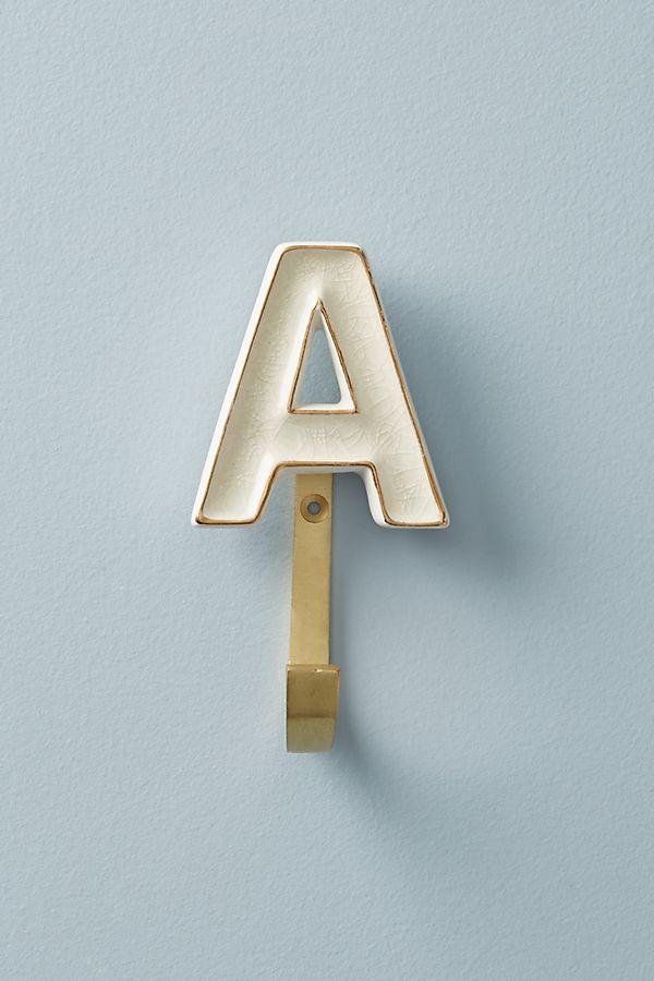 Anthropologie alphabet letter wall hooks.