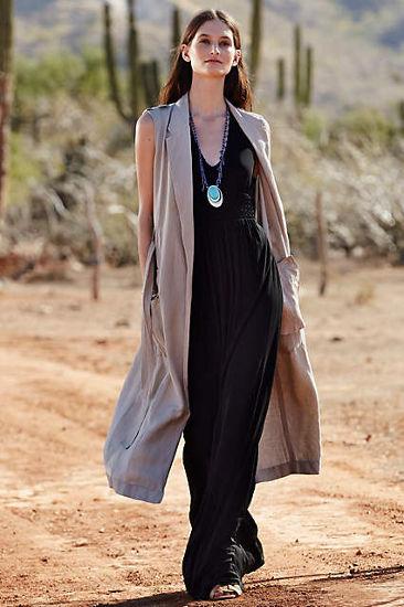 Anthro lookbook black maxi dress and sleeveless trench