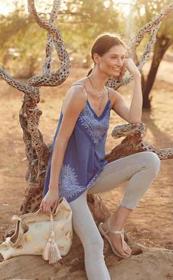 Anthro lookbook blue cami and beige jeans