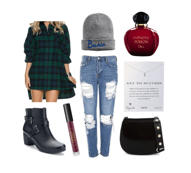 Cute outfits for fall that aren't basic: Apple orchard outfit: Ripped jeans, plaid shirt, beanie that says Basic, Hypnotic Poison perfume, black crossbody bag, ankle boots with buckles