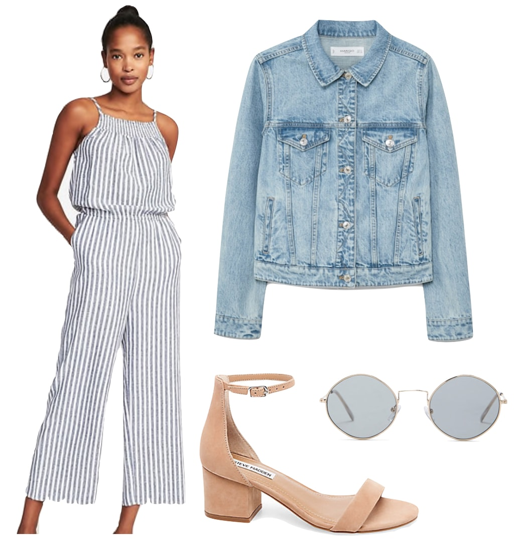 April Love Geary Outfit: white and blue striped jumpsuit, light wash denim jacket, nude ankle strap sandals, and round mirrored sunglasses