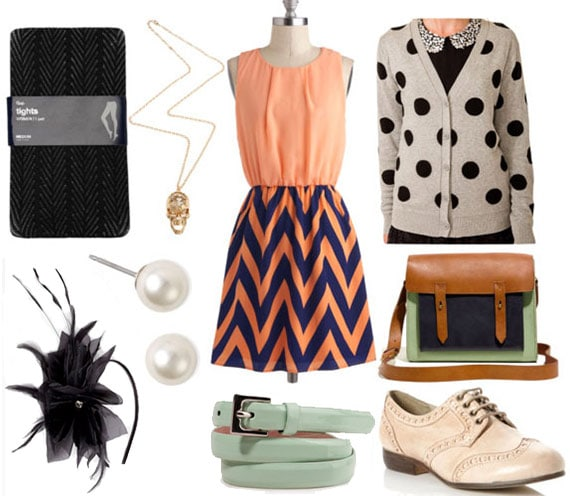 Fashion inspired by April Ludgate from Parks and Recreation: Chevron dress, polka dot cardigan, satchel, mint green belt, tights, oxford flats, fascinator headband