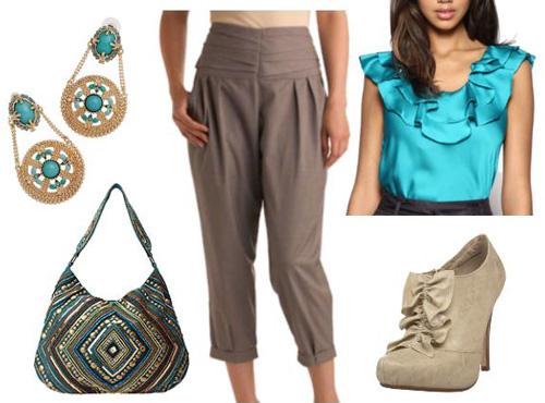 Princess Jasmine inspired aqua outfit
