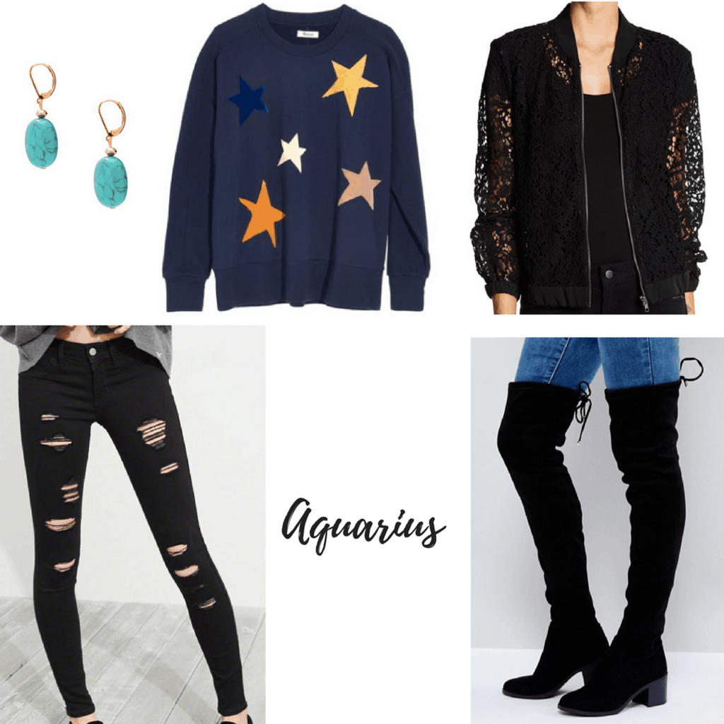 aquarius outfit star sweater lace bomber jacket ripped jeans over the knee boots turquoise earrings