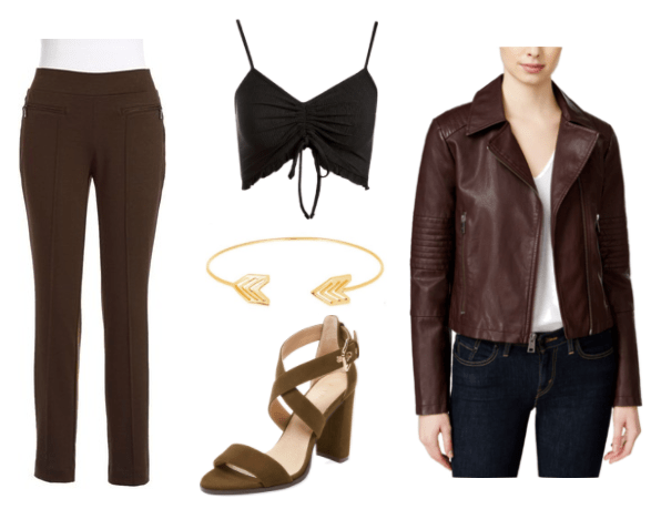 Video game fashion: Outfit inspired by Ares from God of War with black pants, brown strappy heels, black lace-up crop top, brown leather jacket, arrow bangle