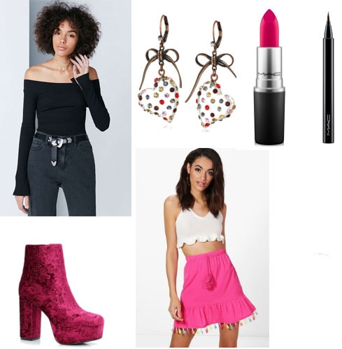 Weekly crossover: Aria Montgomery x Pinkie Pie outfit 2 with black off the shoulder slit sleeve top, pink pom pom mini skirt, pink velvet boots, bright pink lipstick, confetti earrings