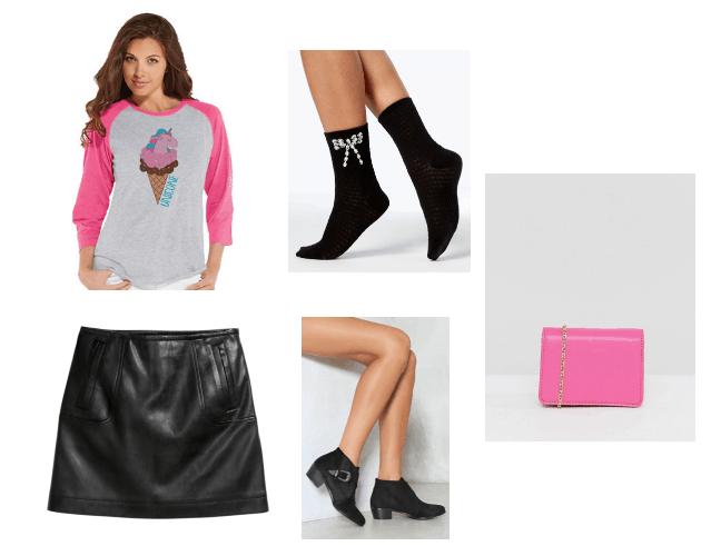 Ice cream top, black skirt, black booties, black socks, and pink purse