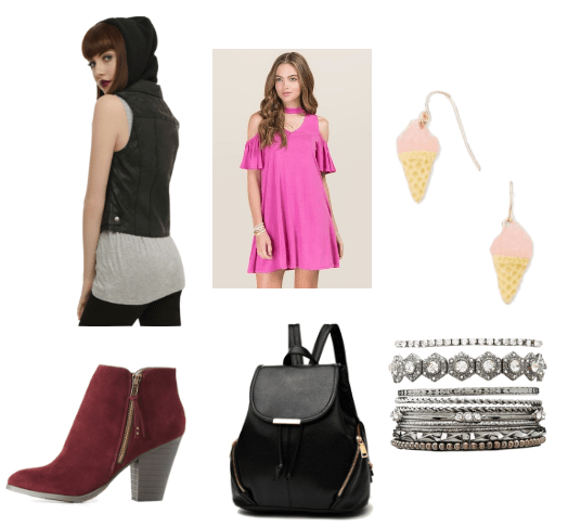 Aria and Pinkie leather vest and pink cold-shoulder dress outfit