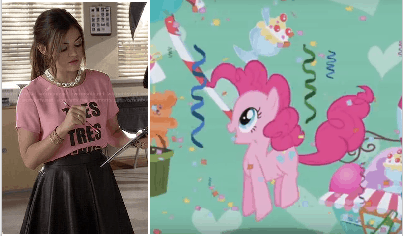 Aria Montgomery's Tres Tres Chic top and leather skirt and Pinkie Pie with goodies