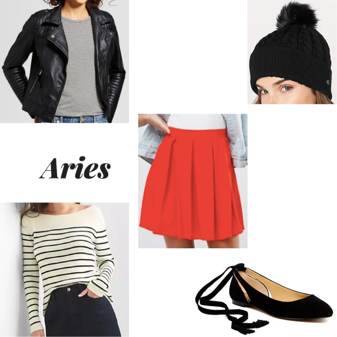 Aries-inspired outfit with red mini skirt, striped long sleeve tee, ballet flats, black faux leather moto jacket, and black beanie hat with black pom pom detail
