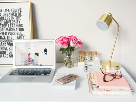 desk, planner, laptop, study, organized