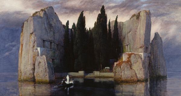 "Arnold Böcklin's ""Die Toteninsel"" (1883) via Wikimedia Commons (click image to enlarge)"