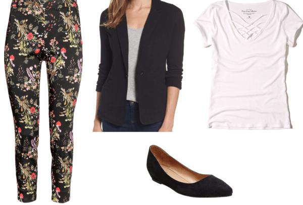 floral pants black blazer white strappy tee black flats
