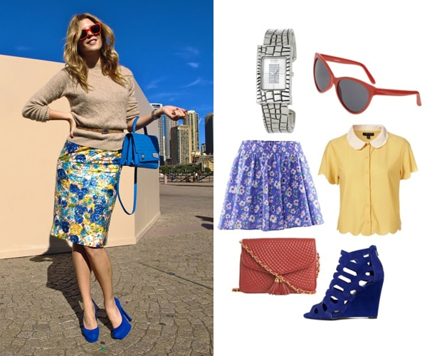 Street style outfit - blue suede shoes