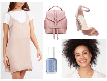 Outfit inspired by Essie's 90s nail polish collection: Outfit inspired by Clueless - beige slip dress over a t-shirt, mini backpack, velvet platform heels, blue nail polish, choker