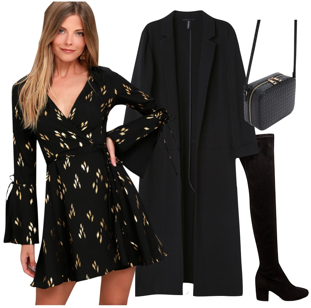 Ashlee Simpson Outfit: black printed wrap-front mini dress, black over the knee boots, a black long jacket, black woven crossbody bag