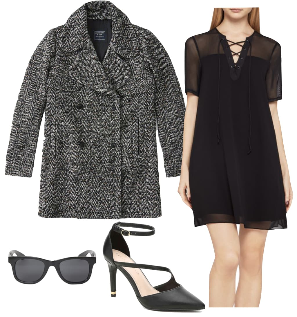 Ashley Benson Outfit: gray herringbone wool-blend peacoat, black sheer lace-up front dress, black rectangular sunglasses, and black ankle strap pointy toe pumps