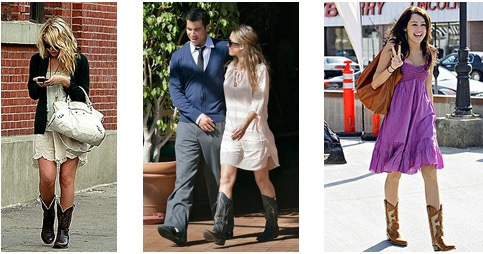 Ashley Olsen, Miley Cyrus and Jessica Alba wearing cowboy boots with dresses