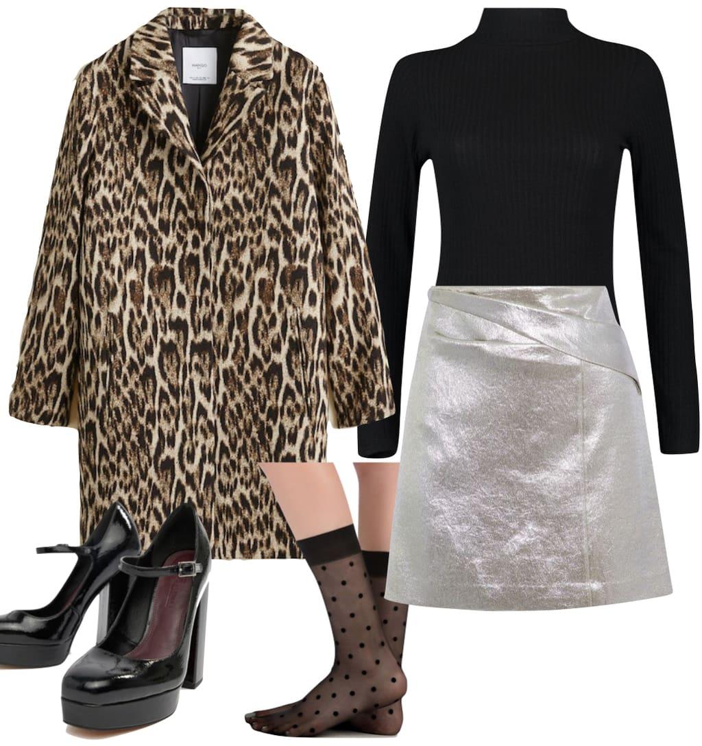 Ashley Tisdale Outfit: leopard print coat, black turtleneck bodysuit, silver metallic mini skirt, sheer polka dot socks, and black patent platform heels