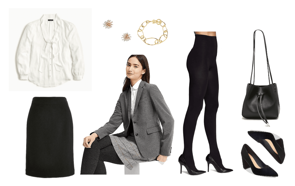 Outfit for a swearing in ceremony: Black skirt, white oxford shirt, blazer, black tights, black pointed toe pumps, black bucket bag and jewelry