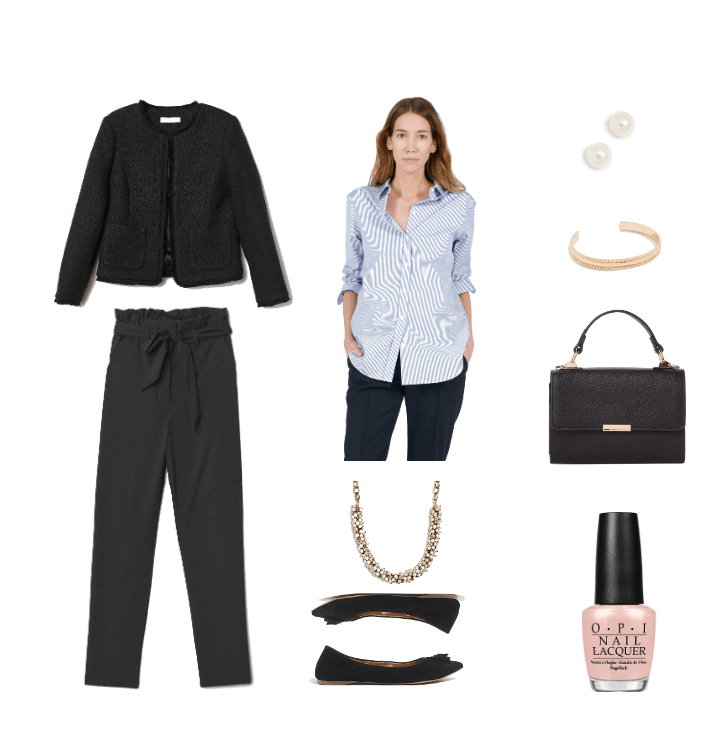 Outfit for a swearing in ceremony: Black high waisted trousers, black jacket, striped shirt, black satchel bag, simple jewelry, black flats
