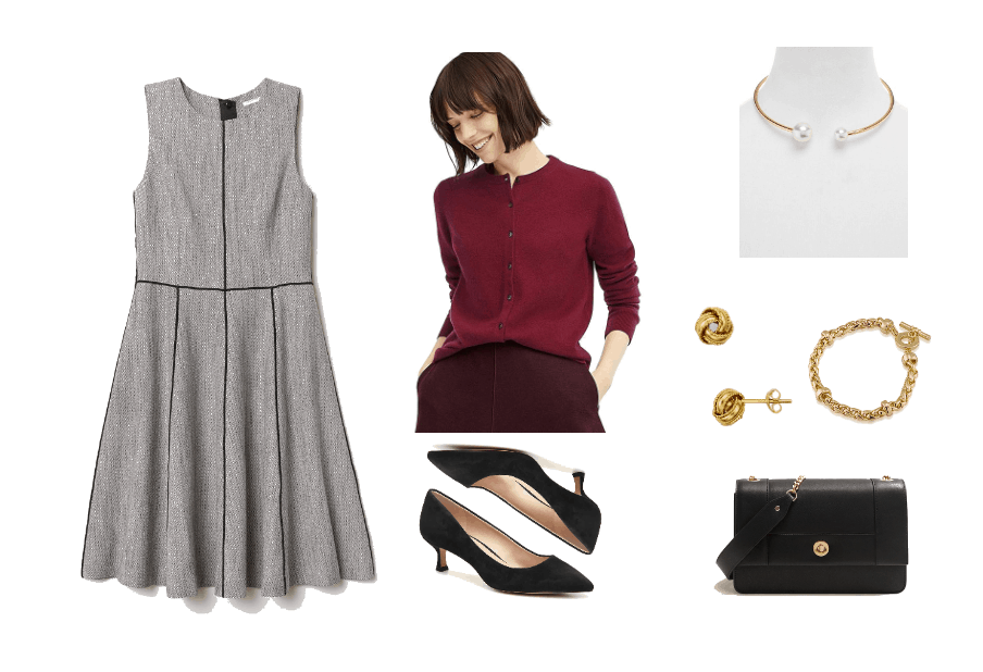 Outfit for a swearing in ceremony: Gray a-line dress, burgundy cardigan, black kitten heels, black mini bag