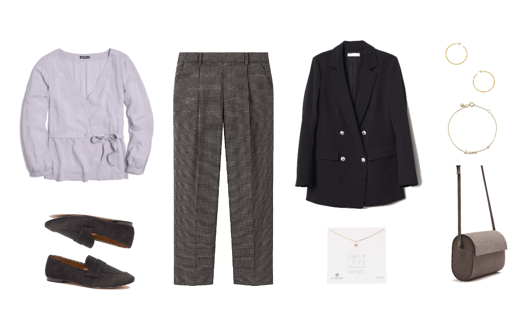Outfit for a swearing in ceremony: Tweed pants, wrap top, blazer, loafers, tweed bag