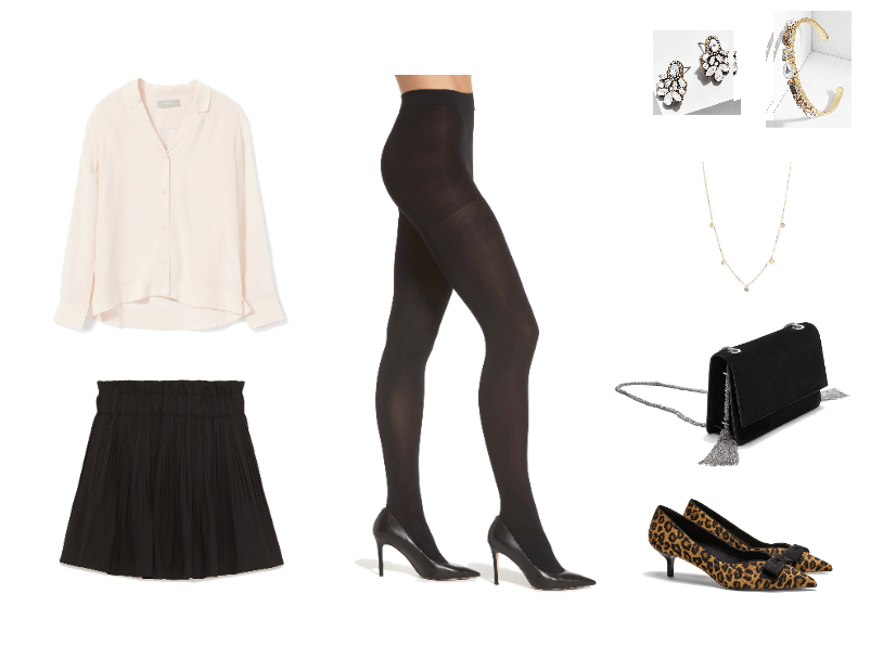 What to wear to your boyfriend's convocation: Outfit with black skirt, button-down blouse, black tights, leopard print heels, jewelry, chain strap bag