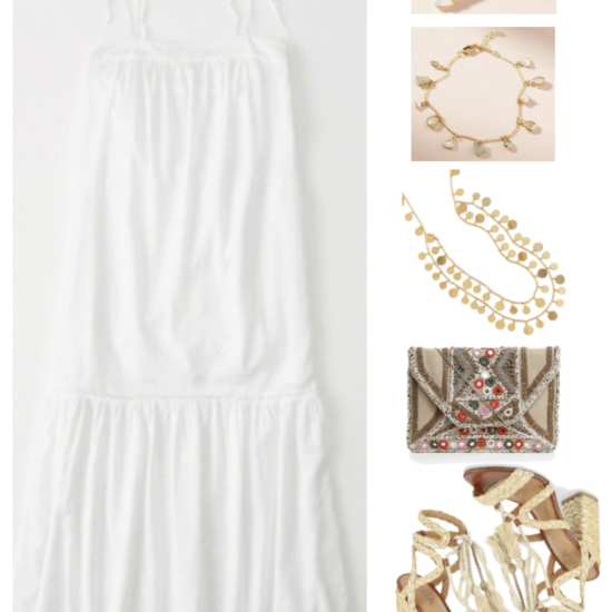 """Ask CF: How Do I Style a White Sundress For My Bridal Shower?"" Outfit #3 featuring white spaghetti tie-strap tiered maxi dress, gold earrings with three teardrop-shaped opals, gold bracelet with stone charms, long gold double-layer disc necklace, beige embroidered mirror-embellished clutch with silver chain strap, natural-beige raffia rope sandals with chunky heel wrapped with raffia"