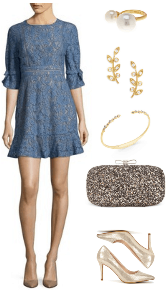 """""""Ask CF: What Should I Wear as a Bridesmaid on a Budget?"""" Outfit #1 featuring short medium-blue three-quarter-sleeved floral lace dress, gold open faux pearl ring, gold branch earrings with clear stones, gold open cuff bracelet with clear stones, pewter sequined clutch with silver bow clasp, metallic pale gold pumps"""