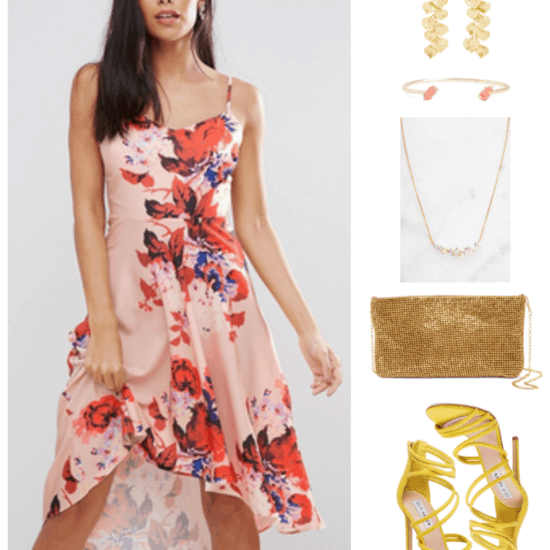 """""""Ask CF: What Should I Wear as a Bridesmaid on a Budget?"""" Outfit #2 featuring high-low hem pale pink cami dress with red, black, neon pink, and purple floral print; gold branch and leaf drop earrings, gold open cuff bracelet with coral stones, gold necklace with opals and clear stones, metallic gold clutch with gold chain-strap, bright yellow heeled strappy sandals"""