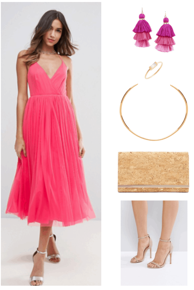 """""""Ask CF: What Should I Wear as a Bridesmaid on a Budget?"""" Outfit #3 featuring neon coral pink midi-length tulle dress with v-neck and thin straps, triple-tier magenta, bright pink, and light purplish-pink tassel earrings; gold ring with moonstone baguette, gold collar necklace, gold-flecked faux cork clutch with gold bar at opening, beige heeled sandals with ankle strap"""